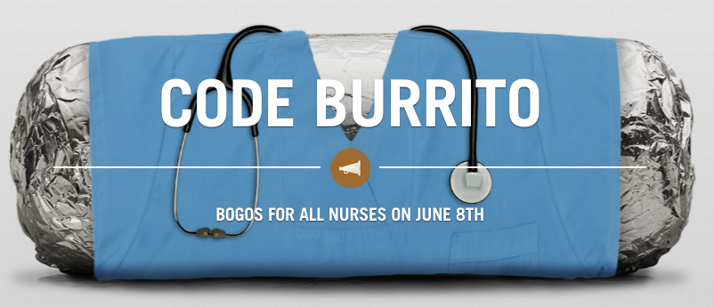 Nurses can get buy one get one free entrees at Chipotle on June 8, 2016!