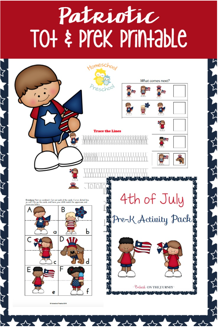 Download a free Patriotic Tot and Pre-K printable pack.