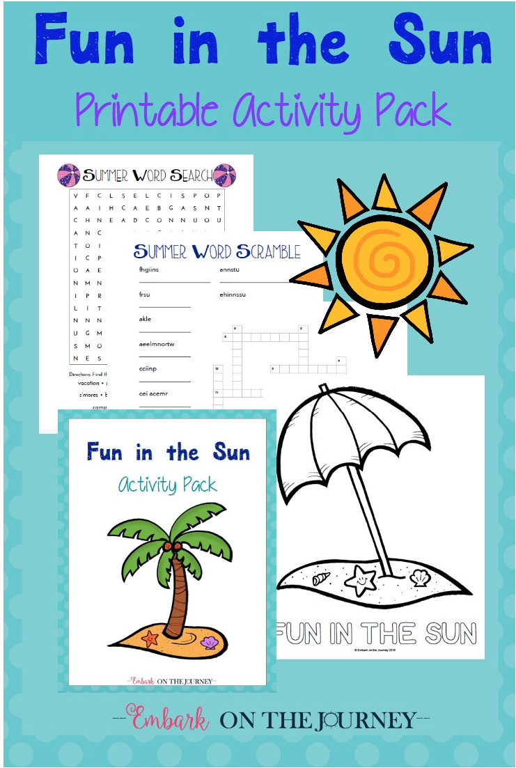 Download a free printable Fun in the Sun Summer activity pack.