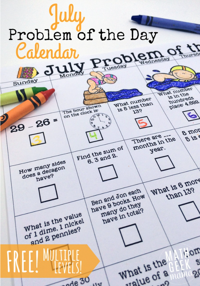 Download a free printable Math Problem of the Day June Calendar.