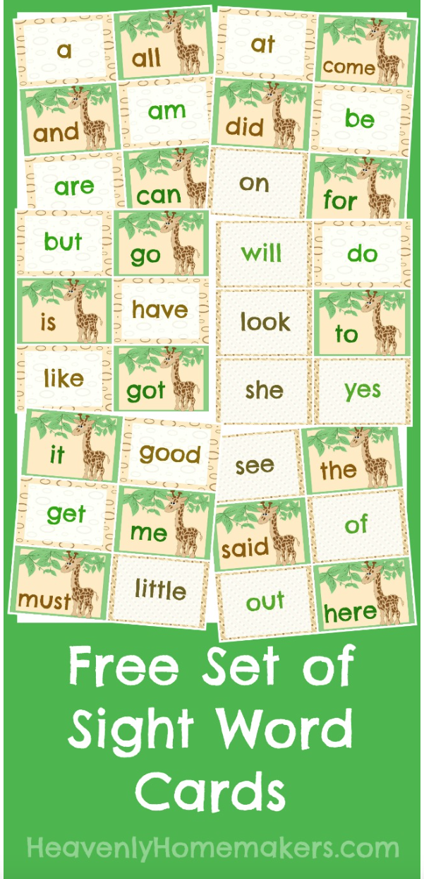 Download a set of free printable Sight Word cards.