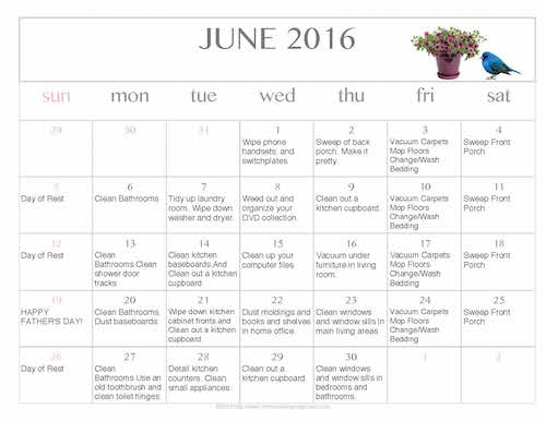 free editable printable june 2016 cleaning calendar money saving