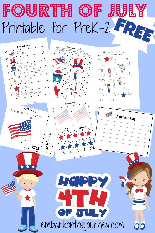Free Printable 4th of July Printable Preschool Pack