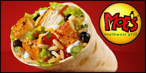Get a free burrito at Moe's with the app download!