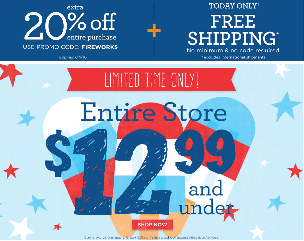Get an extra 20% off plus free shipping today at Gymboree!