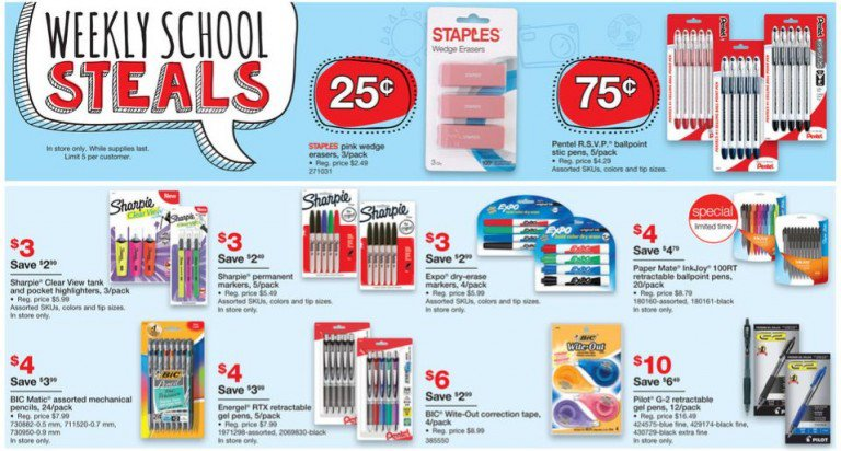 Staples Back To School Deals For The Week Of July 24 2016