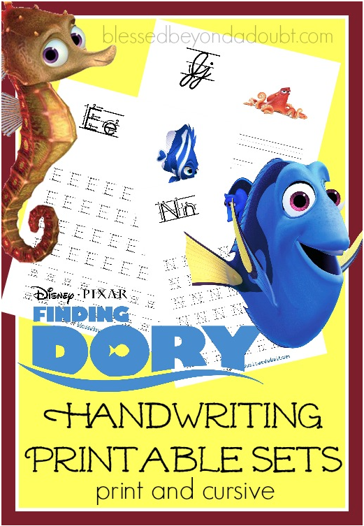 Download a free Finding Dory handwriting printable pack.