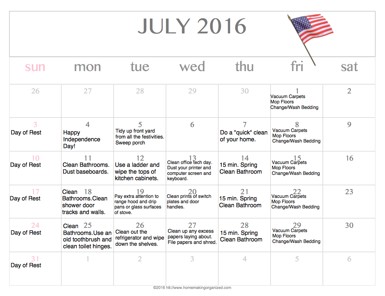 Download a free editable printable July 2016 calendar.