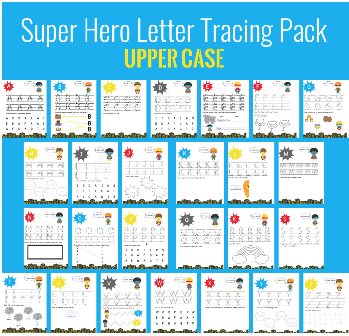 Download a free printable Super Hero Uppercase Letter Tracing Pack.