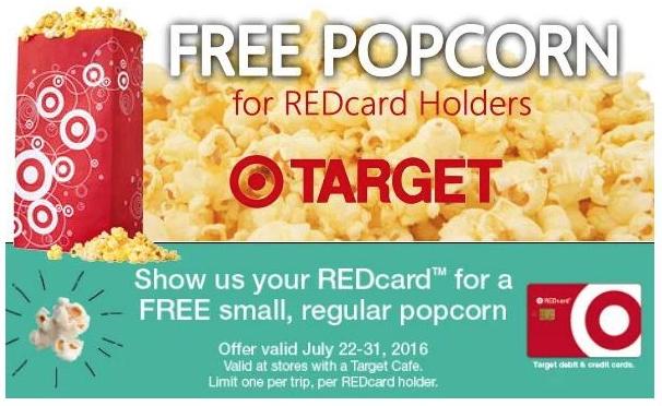 Free Target Cafe Popcorn for Target REDcard Holders July 11 - 31, 2016!
