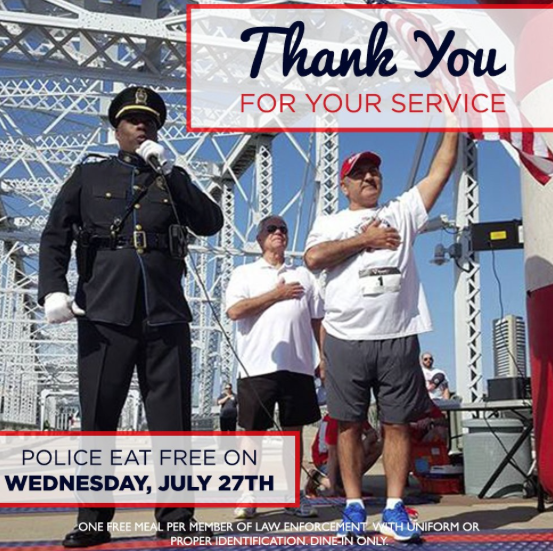 Law Enforcement Officers can get a FREE meal at Shoney's today, July 27th!