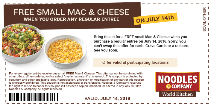 Print a Noodles & Co coupon to get a free small mac & cheese with any entree purchase on July 14, 2016.