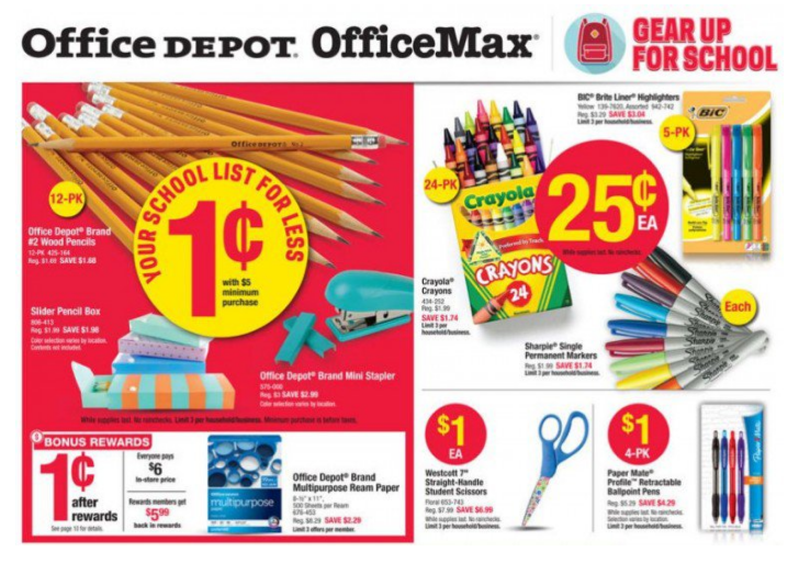 Office Depot/Office Max Back To School Deals