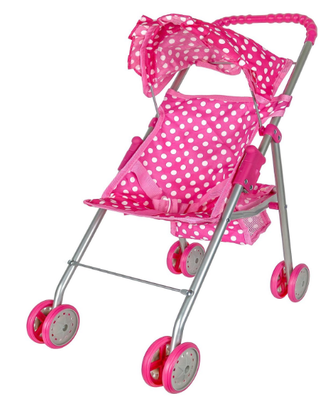 Get the Pink & White Polka Dots Doll Stroller for just $12.99!