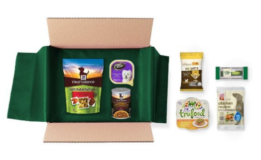 Amazon has a free dog food and treats sample box after credit!