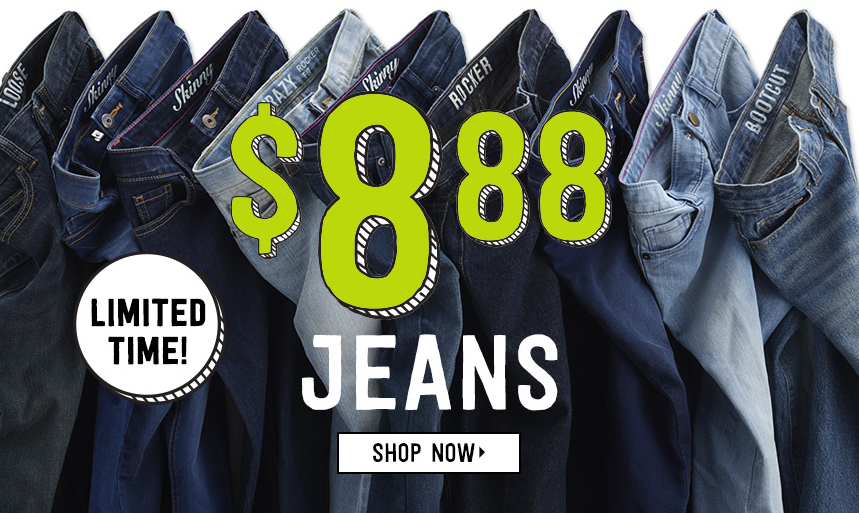 Get jeans for $8.88 shipped at Crazy 8 today!