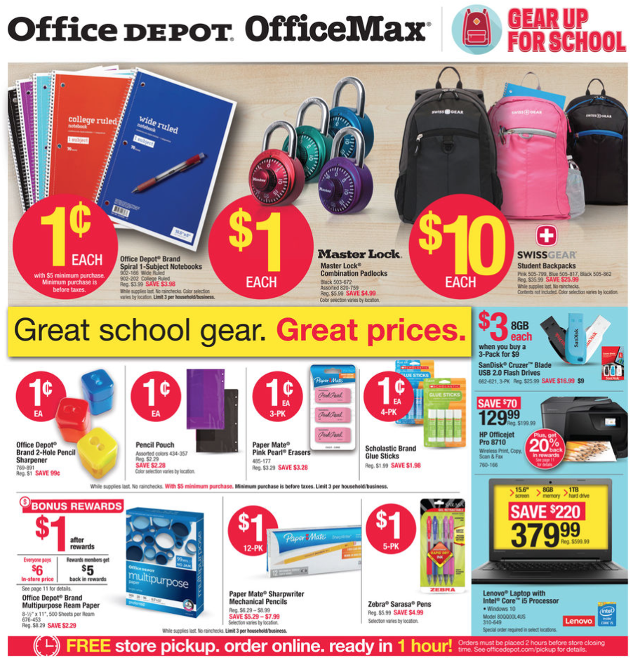 Office max office depot back to school deals for the week for Deals by depot