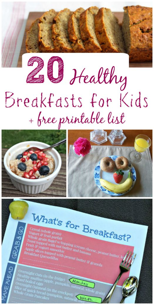 20 Healthy Breakfast Ideas for Kids + Free Printable!