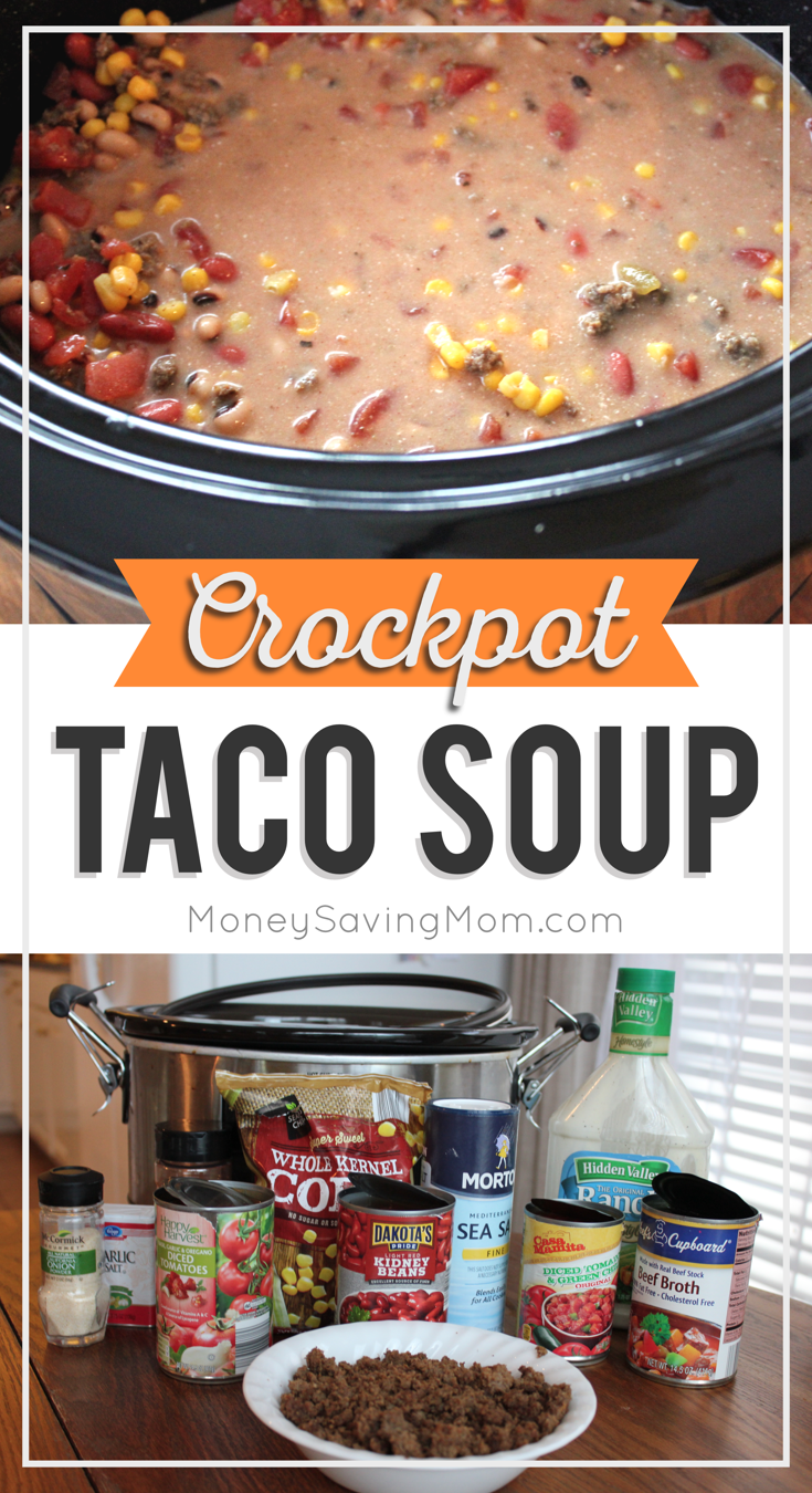 Looking for easy fall recipes? This Crockpot Taco Soup looks SO delicious, and you'll save on time and clean-up since it's made in the slow cooker!