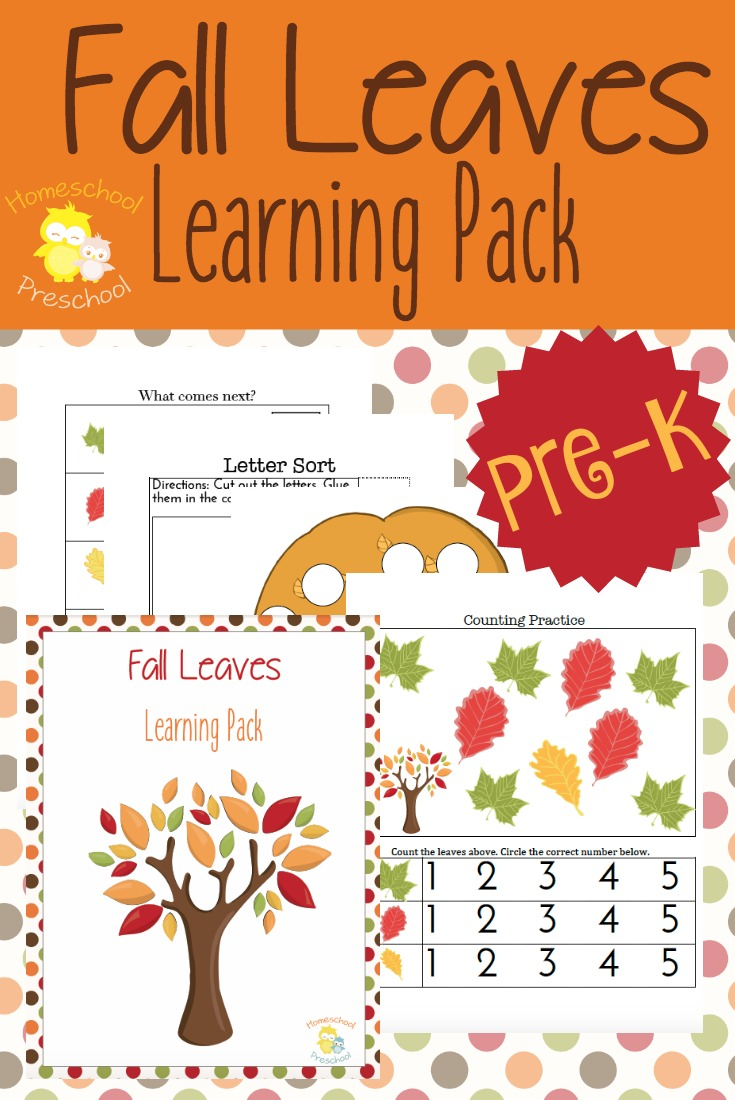 Download a free Fall Leaves preschool printable pack!