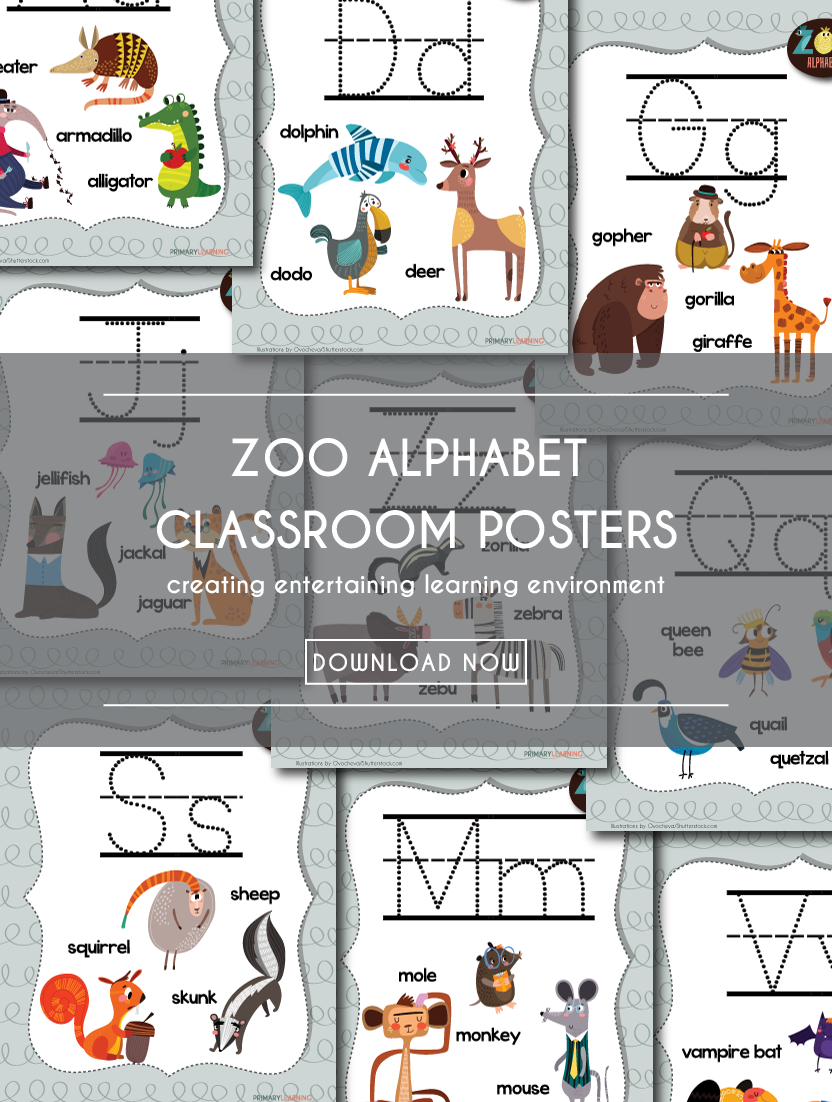 Download a set of free printable Zoo Alphabet classroom posters!