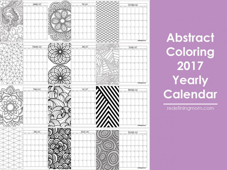 Free printable abstract adult coloring 2017 calendar!