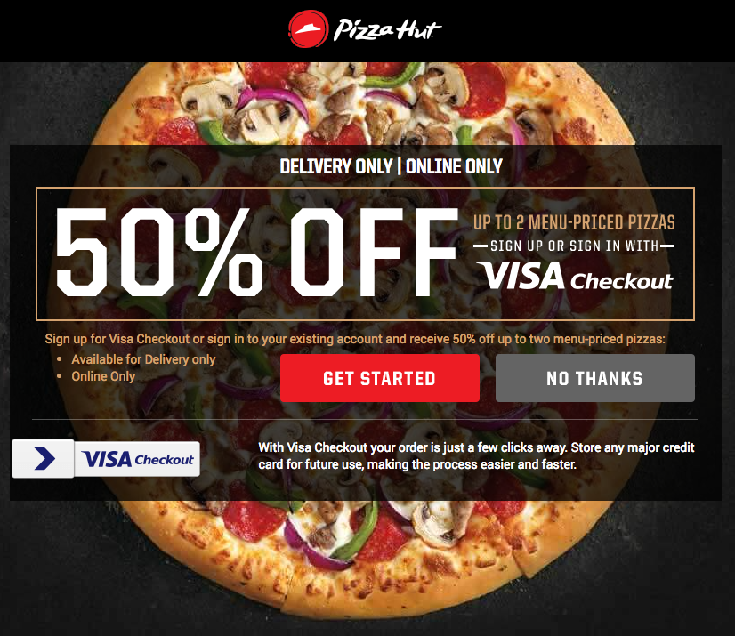 Check out their selection of pasta, wings, sides, desserts and more to make a complete meal out of Pizza Hut tonight. Be sure to get great savings and discounts on your next order or purchase by taking advantage of Pizza Hut coupon codes, special offers and exclusive deals.