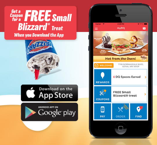 Download the Dairy Queen mobile app to get a free small Blizzard treat!