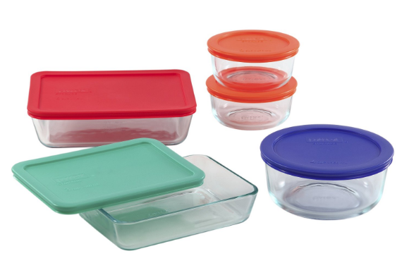 Get this Pyrex 10-Piece Storage Set with Plastic Covers for just $12.95!