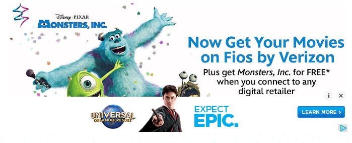 Get a FREE digital download of Disney Pixar's Monsters, Inc. movie!