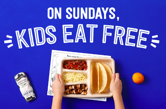 Kids eat free every Sunday in September at Chipotle!