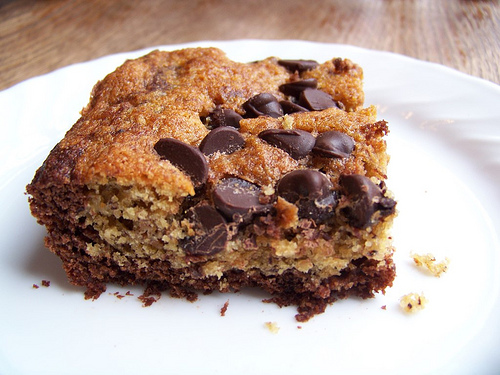 banana chocolate chip bars on white plate