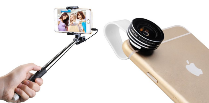 selfie stick for and clip on iphone fisheye lens for. Black Bedroom Furniture Sets. Home Design Ideas