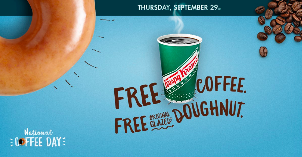 Krispy Kreme is offering a free small coffee and original glazed doughnut to all customers on September 29, 2016