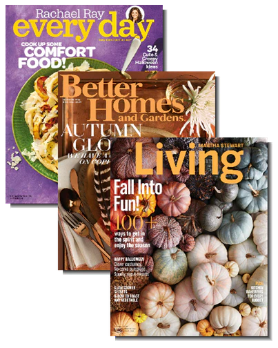 Get a one-year subscription to Rachael Ray, Better Homes & Gardens, and Martha Stewart Living for just $12 total! That's like paying just $4 per subscription!