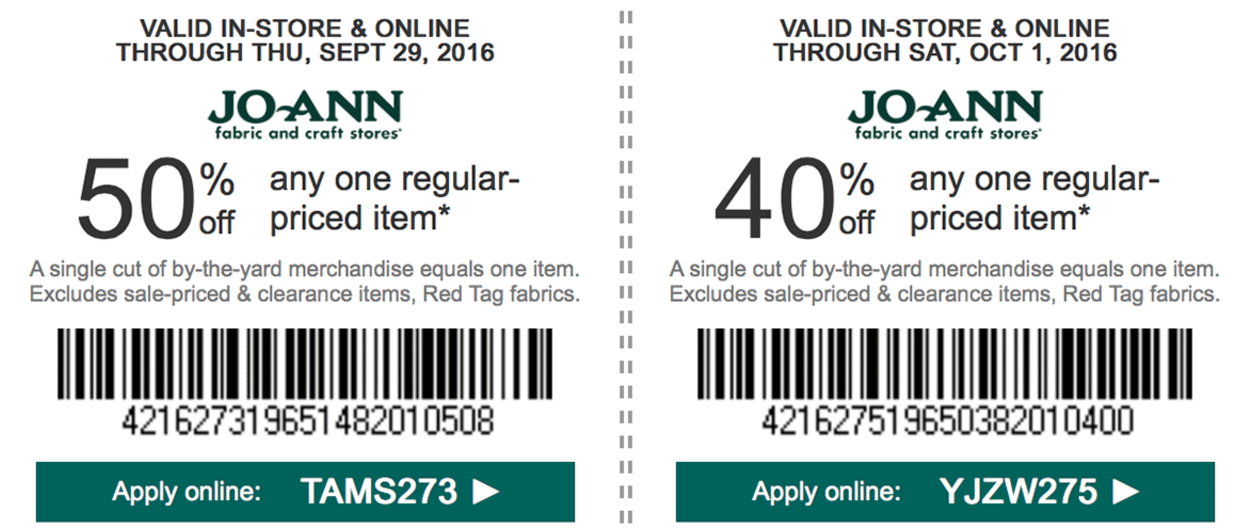 joann fabric coupon policy