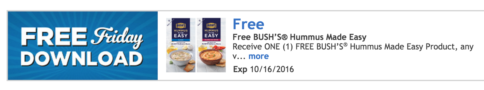 FREE Bush's Hummus Made Easy product
