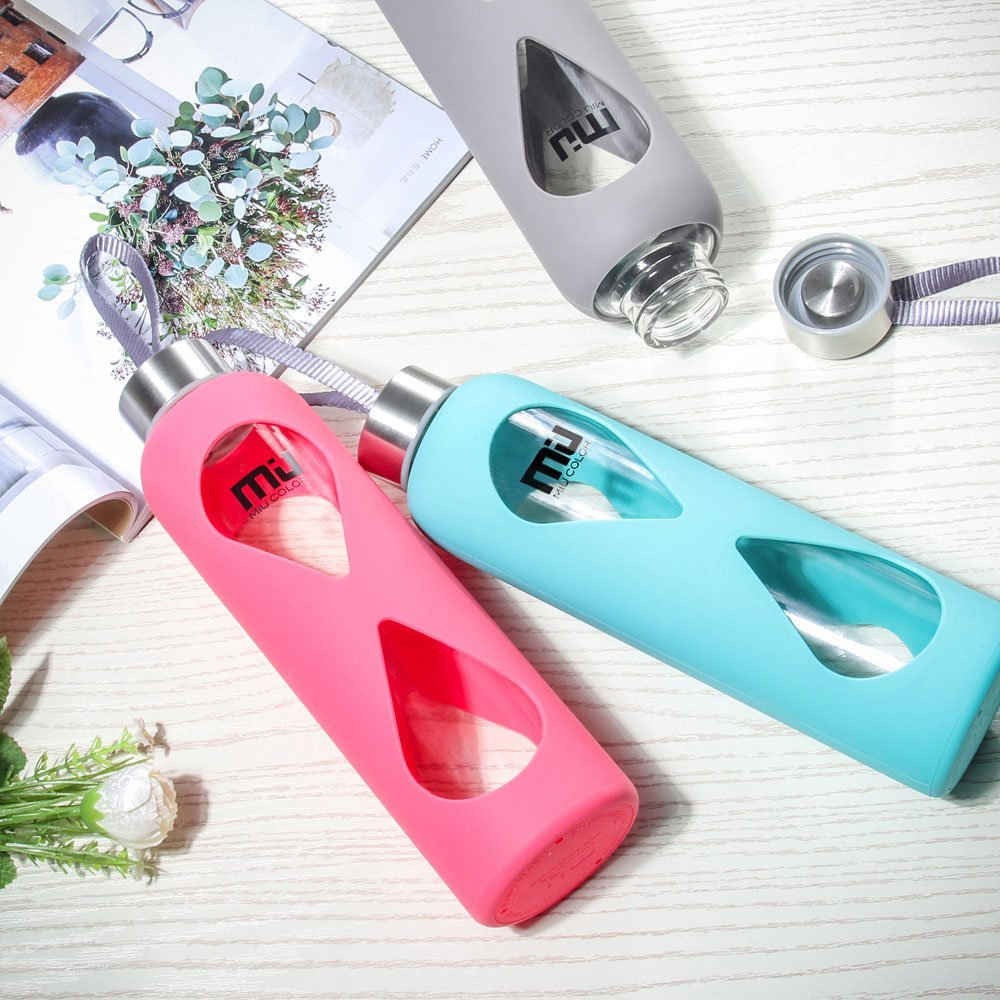 Get this Glass Water Bottle with Anti-Slip Silicone Sleeve for just $11.99 after coupon code right now!