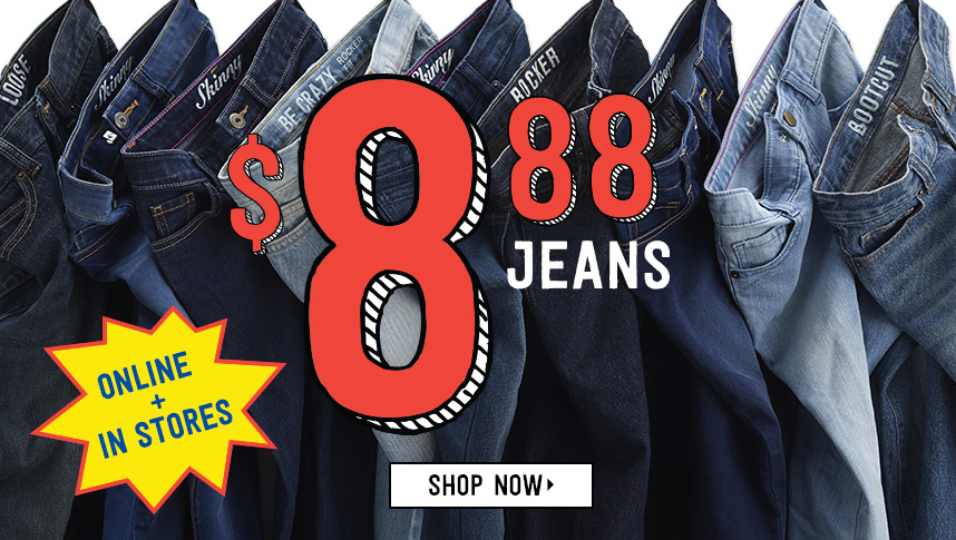 Get kids' jeans for just $8.88 at Crazy 8 this weekend!