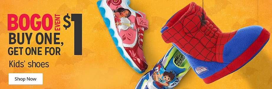 Shop the Buy One, Get One for $1 Kids' Shoes Sale at Kmart right now!