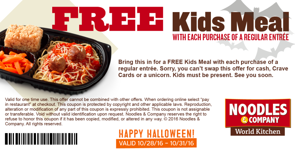 photo regarding Noodles and Company Printable Coupons known as Noodles Business: Totally free Small children Evening meal with Grownup Entree Order