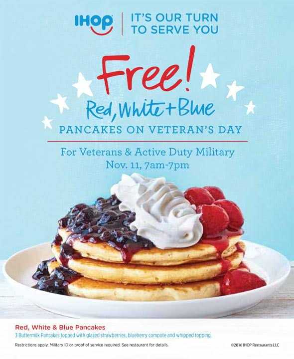 IHOP: Free Pancakes for Veterans & Active Duty Military on November 11, 2016