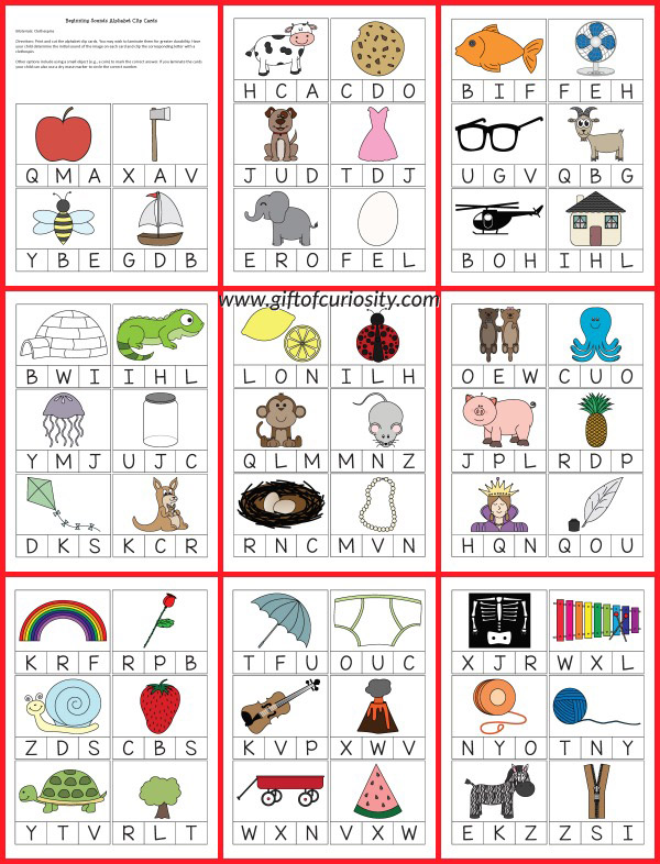 Download a set of free printable Beginning Sounds Alphabet Clip Cards.