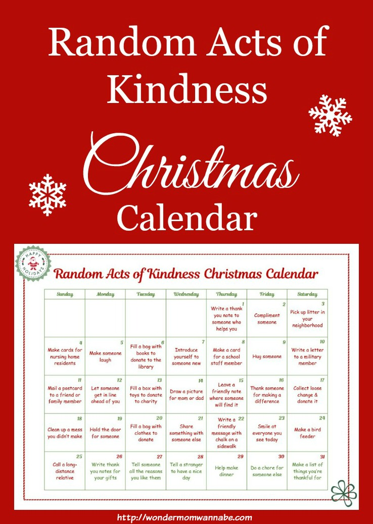 Free Printable Random Acts of Kindness Christmas Calendar - Money ...
