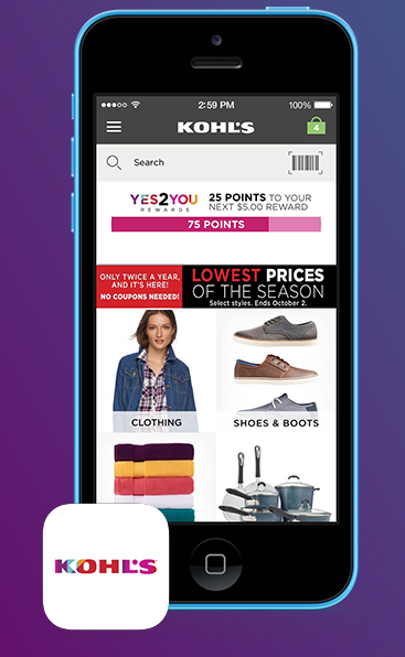 Kohl's App: Download coupons to use in-store!