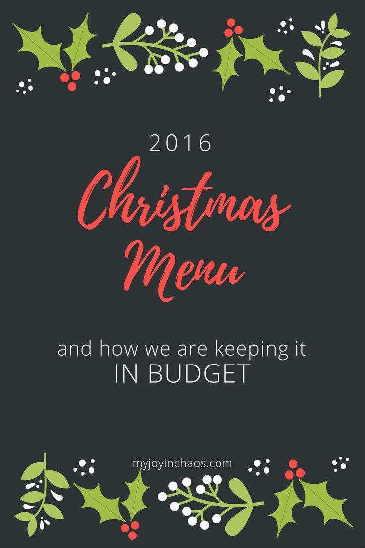 2016 Christmas Menu On A Budget