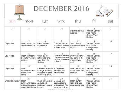 Free Editable Printable December 2016 Cleaning Calendar