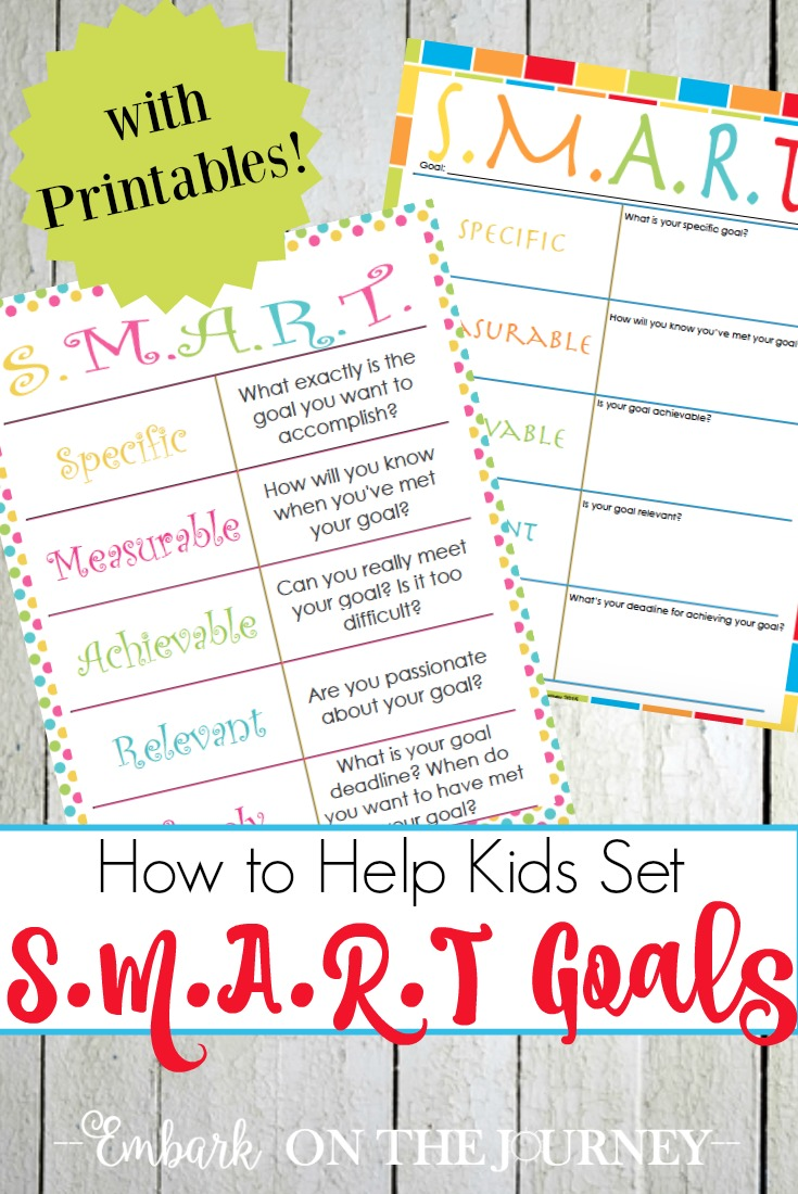 Free Kids SMART Goals Printable