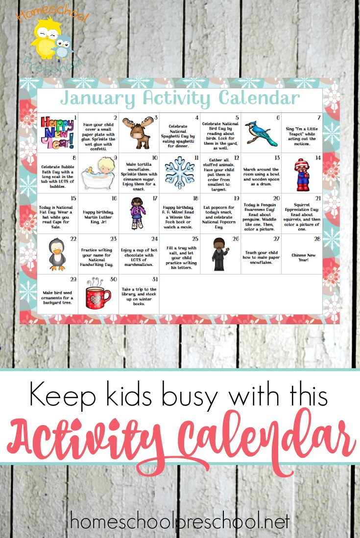 Free Printable January Preschool Activity Calendar