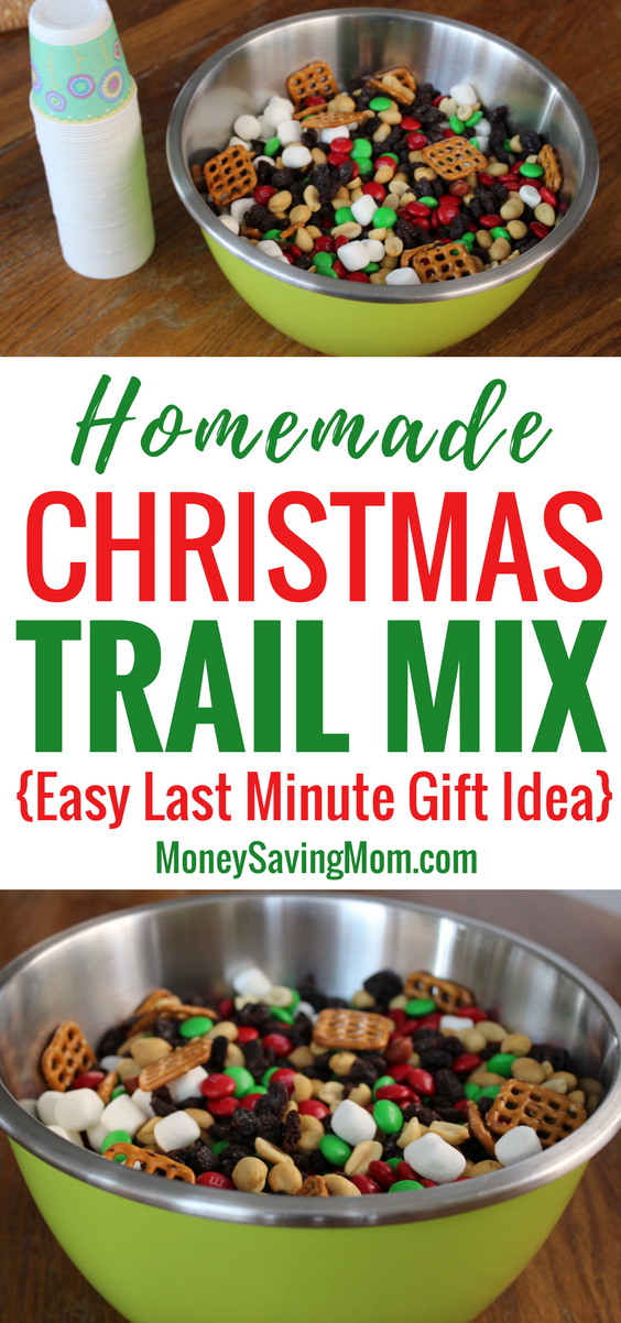 This Homemade Christmas Trail Mix is a great last minute gift idea -- and it's inexpensive and easy!